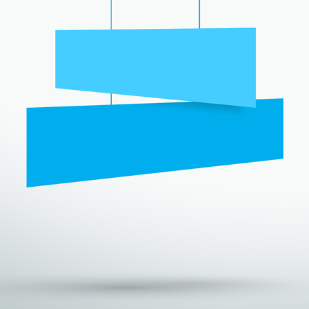 Infographic 2 Blue Title Boxes Hanging 3d Vector Illustration