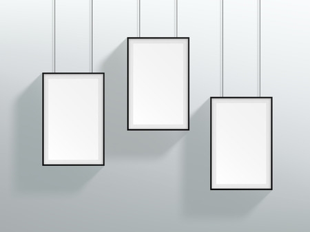Vector 3 Blank Black Realistic Hanging Frames Design Royalty Free ...