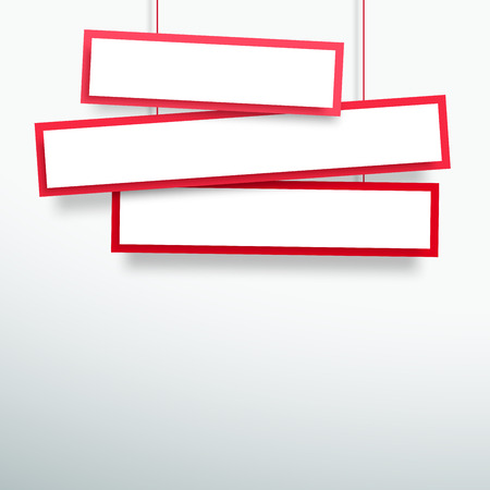 Vector 3d Blank Red 3 Line Wonky Hanging Banners