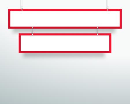 3 d 空赤 2 行タイトル バナー デザインをぶら下げをベクトル