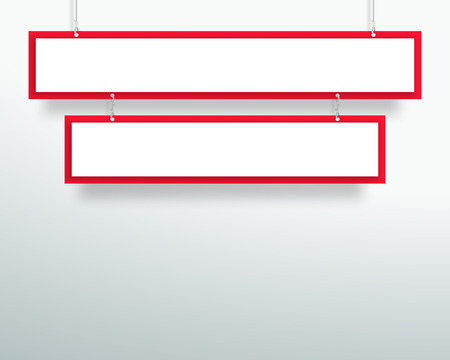 Vector 3d Blank Red 2 Line Title Banners Hanging Design Ilustrace