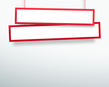 Vector 3d Blank Red 2 Line Wonky Hanging Banners
