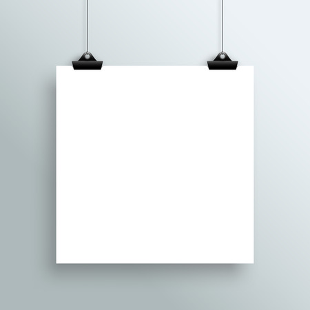 vectored: Vector Hanging Blank White Square Poster From Clips