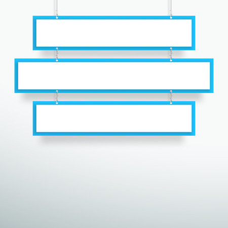Vector 3d Blank Blue 3 Line Title Banners Hanging Design Иллюстрация