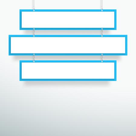 Vector 3d Blank Blue 3 Line Title Banners Hanging Design Stock Illustratie
