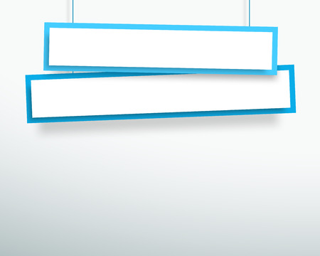 white backing: Vector 3d Blank Blue 2 Line Wonky Hanging Banners