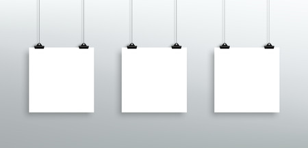 vectored: 3 Vector Hanging Blank White Square Sheets From Clips