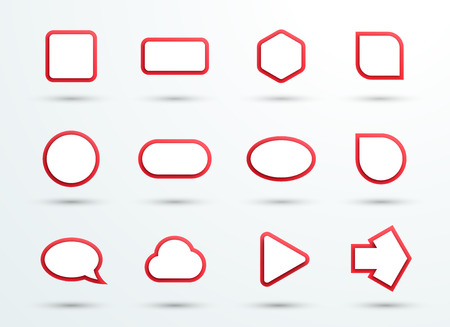 Vector 3d Red Text Box Frames Different Shapes Set of 12