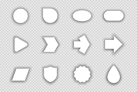 Vector Set of White Shapes With Transparent Shadows A