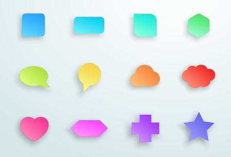 Set of 3d Colourful Generic Icon Shapes With Shadows B