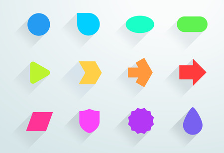 Set of colourful icon shapes with flat shadows.