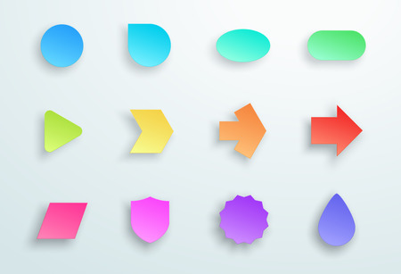Vector Set of 3d Colourful Generic Icon Shapes With Shadows A