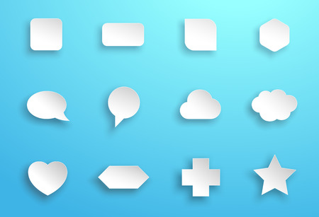 Vector Set of 3d White Generic Icon Shapes With Shadows B