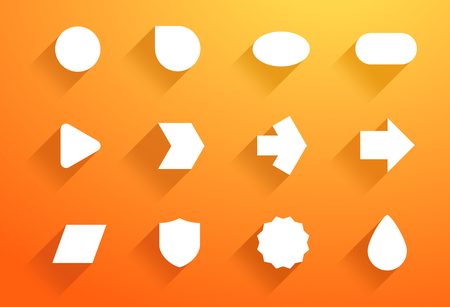 Vector Set of White Icon Shapes With Flat Shadows A