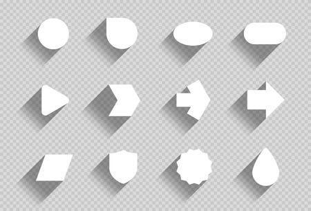 Vector Set of Flat White Shapes With Transparent Shadows A