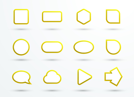 3d Yellow Text Box Frames Different Shapes Set of 12
