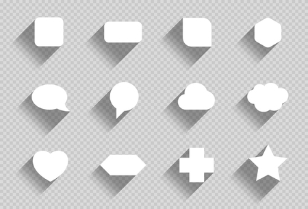 Vector Set of Flat White Shapes With Transparent Shadows B Illustration