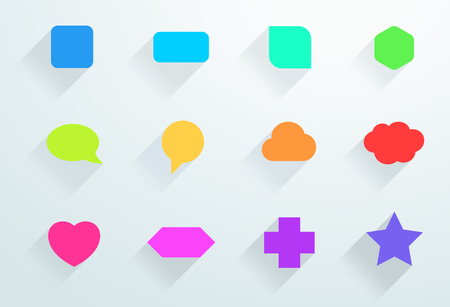 Vector Set of Colourful Icon Shapes With Flat Shadows B