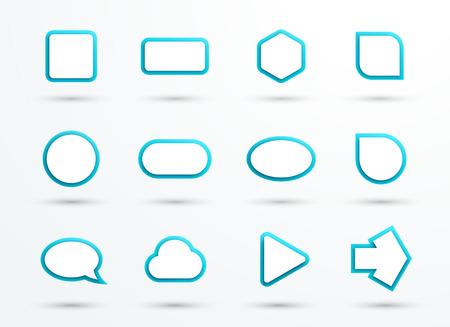 벡터 3d 파란색 텍스트 상자 프레임 다른 셰이프 집합 12 스톡 콘텐츠 - 71337991