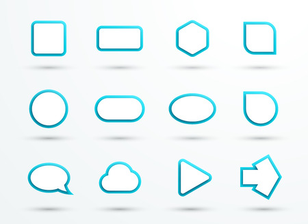 Vector 3d Blue Text Box Frames Different Shapes Set of 12 Ilustração