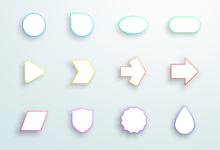 Vector Set of 3d Outline Generic Icon Shapes With Shadows A Illustration