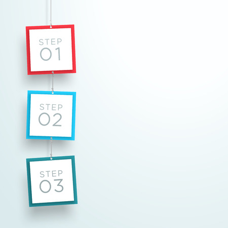 Infographic 3 Steps In 3d Hanging Signs Template A