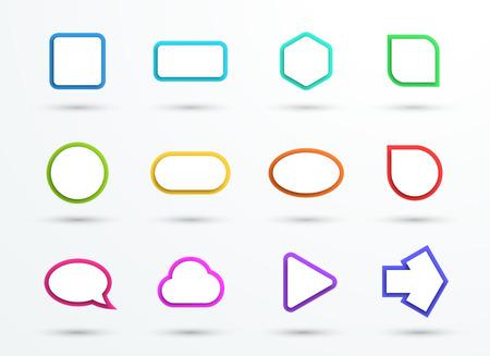 Vector 3d Color Text Box Frames Different Shapes Set of 12 Illustration
