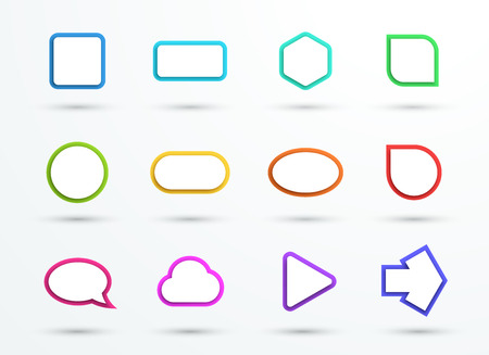 overlapped: Vector 3d Color Text Box Frames Different Shapes Set of 12 Illustration
