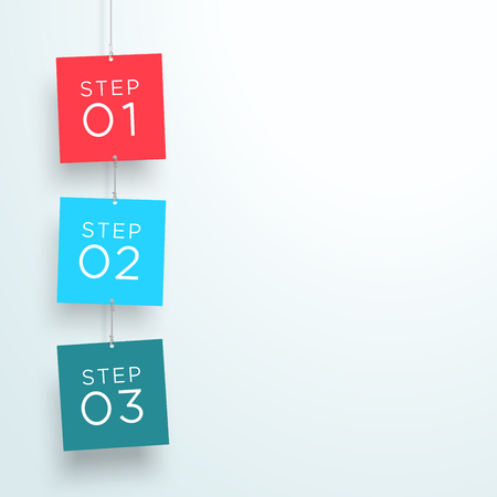 Infographic 3 Steps In 3d Hanging Signs Template B