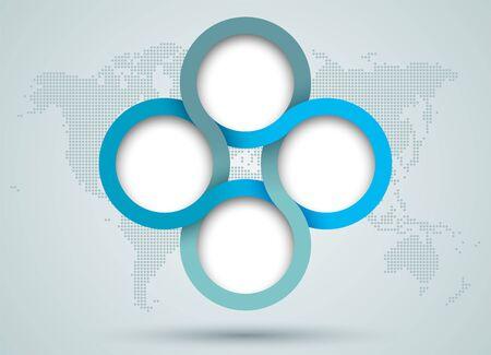 Infographic Circle Diagram With Dots World Map Back Drop Ilustração