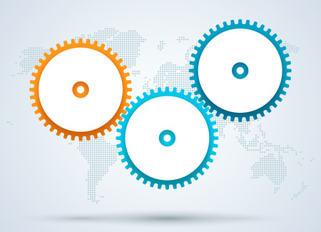 Infographic 3d Cogs With Dots World Map Back Drop B Ilustracja