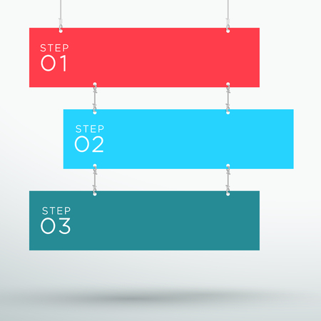 schemes: Infographic 3 Step Colourful Hanging Text Banners A Illustration
