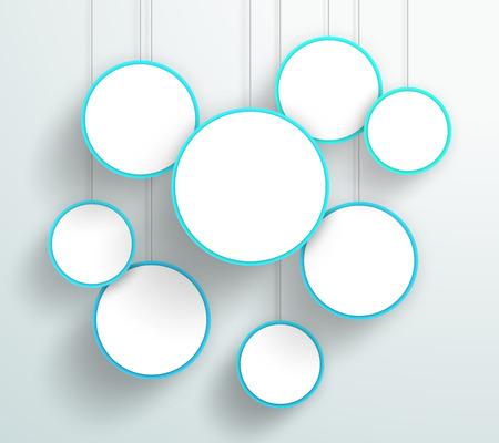 3 d ブルー サークル看板ぶら下げデザイン ベクトル  イラスト・ベクター素材