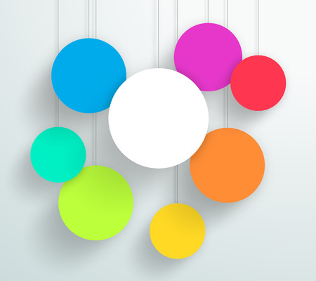 Vector 3d Blank Colorful Circle Frames Hanging Design