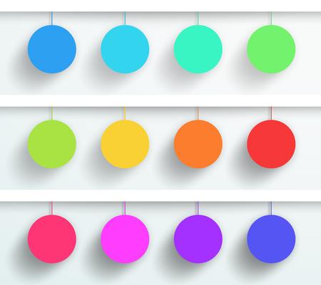 Vector Set Van 3D Lege Kleurrijke Cirkel Frames Hangen Stock Illustratie