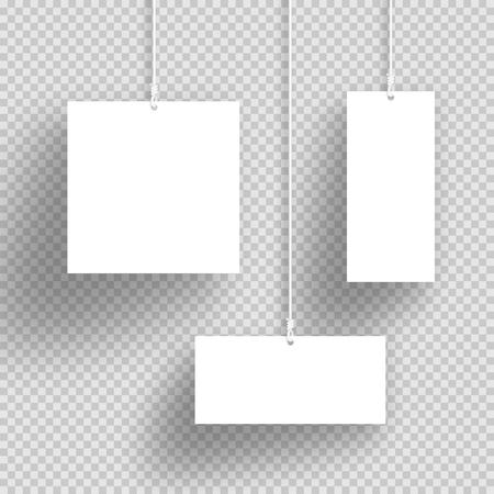 Vector 3D Witte Hangende Frames Met Transparante Schaduwen Stock Illustratie