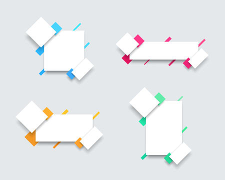 Vector Set of 4 Simple Colourful Text Box Banner Templates A Illustration