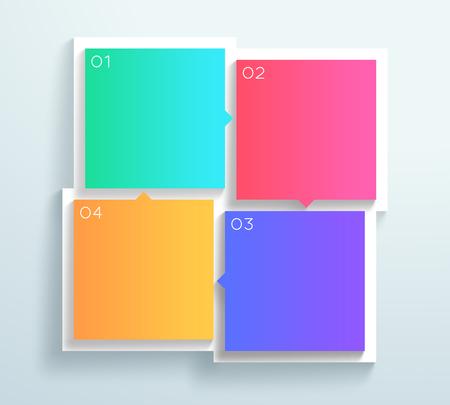 벡터 색상 3d 사각형 텍스트 상자 1 ~ 4 사이클 인포 그래픽 B 일러스트