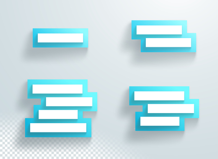 Title Text Boxes Set Blue Stacked With 3d Shadows Frame Backing Illustration
