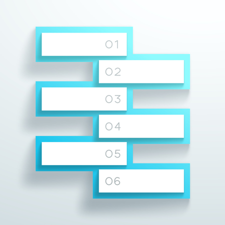 Vector 3d Blue Numbered Text Boxes Stacked 1 to 6 Illustration