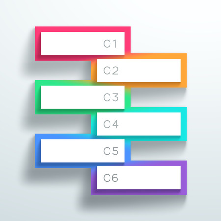 Vector 3d Color Numbered Text Boxes Stacked 1 to 6 Illustration