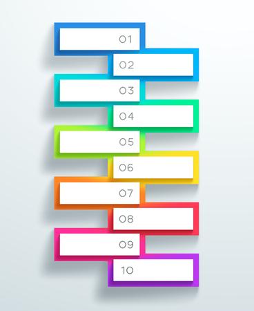 Vector 3d genummerde tekstboxen gestapeld 1 tot 10 Stock Illustratie