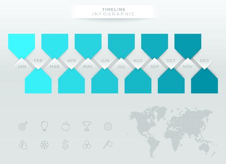 今年の 12 ヶ月とインフォ グラフィック ブルー タイムライン