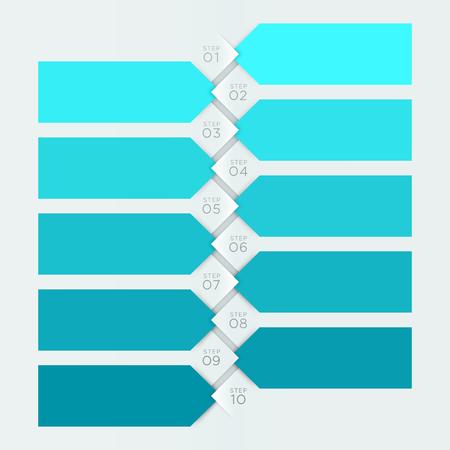 Infographik blau Banner nummerierte Schritte 1 zu 10