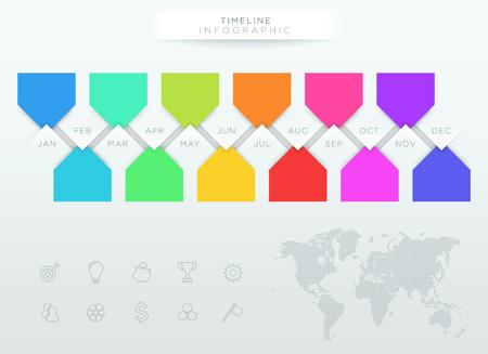 今年の 12 ヶ月とインフォ グラフィック カラフルなタイムライン
