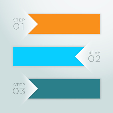 Infographic Vector Arrow Point Steps 1 to 3 Template A Vettoriali