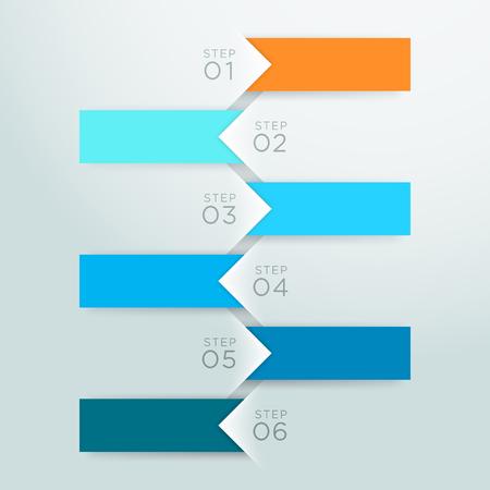 インフォ グラフィック ベクトル矢印ポイント ステップ 1 に 6 テンプレート