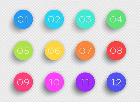 Number Bullet Point Colorful 3d Circles 1 to 12 Vector Фото со стока - 79159715