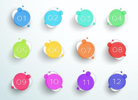 Número Bullet Point Resumen círculos de colores 1 a 12 Vector