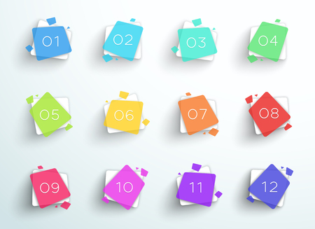 Number Bullet Point Abstract Colorful Squares 1 to 12 Vector